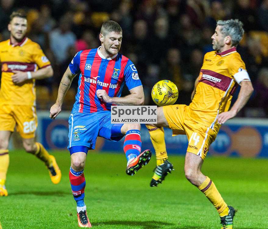 Iain Vigurs and Keith Lasley in action during the match between Motherwell and Inverness Caledonia Thistle (c) ROSS EAGLESHAM | Sportpix.co.uk