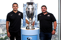 Alex Lozowski, Ian Peel of Saracens, George Furbank and Phil Dowson of Northampton Saints and Les Kiss and Franco Van Der Merwe of London Irish help to launch the 2019/20 Gallagher Premiership Rugby fixtures  - Mandatory by-line: Robbie Stephenson/JMP - 10/07/2019 - RUGBY - BT Tower - London, England - Gallagher Premiership Rugby 2019/20 fixture launch