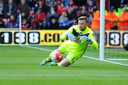AFC Bournemouth goalkeeper Artur Boruc makes a save during the Barclays Premier League match between Bournemouth and Liverpool at the Goldsands Stadium, Bournemouth, England on 17 April 2016. Photo by Graham Hunt.