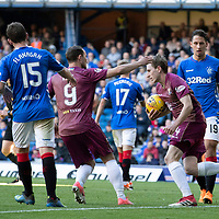 Rangers v St Johnstone…23.09.18…   Ibrox     SPFL<br />Chris Kane congratulates Blair Alston after he scored from the penalty spot<br />Picture by Graeme Hart. <br />Copyright Perthshire Picture Agency<br />Tel: 01738 623350  Mobile: 07990 594431
