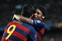 Luis Suarez of FC Barcelona celebrates with Neymar after scoring his side's second goal during the UEFA Champions League Group E football match between FC Barcelona and Bate Borisov on November 4, 2015 at Camp Nou stadium in Barcelona, Spain. <br /> Photo Manuel Blondeau/AOP.Press/DPPI