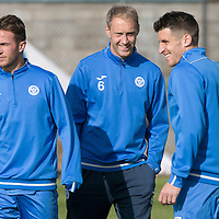 St Johnstone Training….30.09.16<br />Steven Anderson pictured during training this morning with Chris Millar and Michael Coulson<br />Picture by Graeme Hart.<br />Copyright Perthshire Picture Agency<br />Tel: 01738 623350  Mobile: 07990 594431