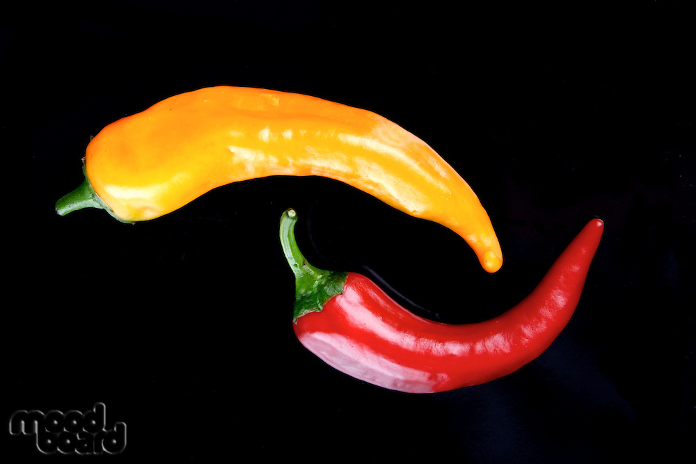 Studio shot of chillis on a black plate