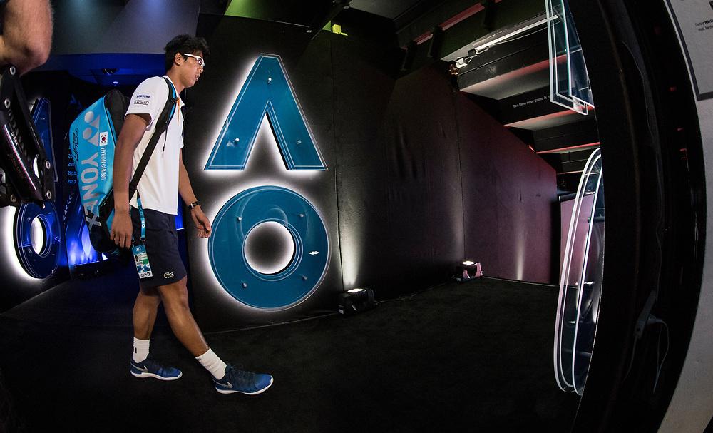 Hyeon Chung on South Korea on day ten of the 2018 Australian Open in Melbourne Australia on Wednesday January 24, 2018.<br /> (Ben Solomon/Tennis Australia)