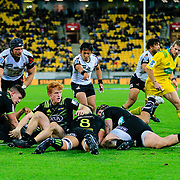 On the line during the Super Rugby union game between Hurricanes and Sunwolves, played at Westpac Stadium, Wellington, New Zealand on 27 April 2018.   Hurricanes won 43-15.