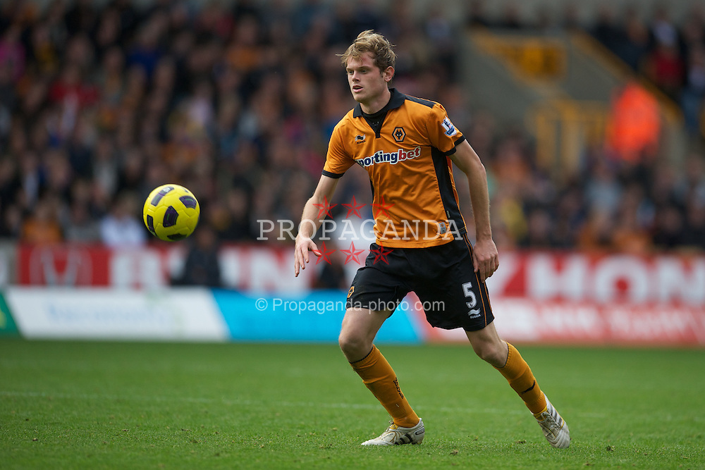 WOLVERHAMPTON, ENGLAND - Saturday, October 30, 2010: Wolverhampton Wanderers' Richard Stearman in action against Manchester City during the Premiership match at Molineux. (Pic by: David Rawcliffe/Propaganda)