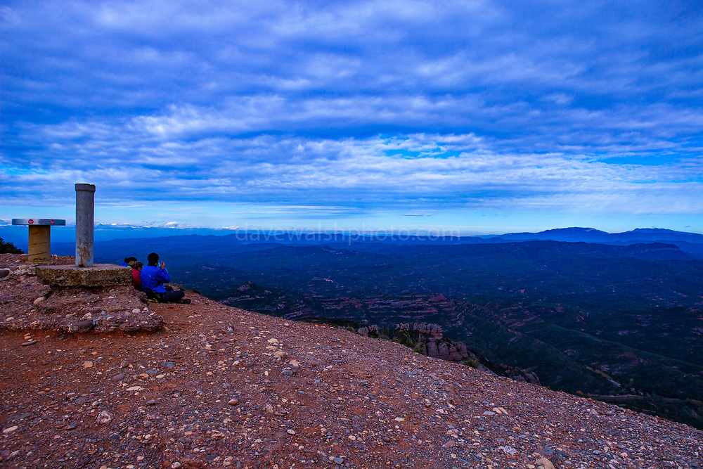 View from the peak of the 1056 metre high mountain of Montcau, in the Parc Natural Sant Llorenc del Munt massif, near Barcelona, Catalonia.
