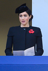 © Licensed to London News Pictures. 11/11/2018. London, UK. The Duchess of Sussex attend a Remembrance Day Ceremony at the Cenotaph war memorial in London, United Kingdom, on November 11, 2018.  Thousands of people honour the war dead by gathering at the iconic memorial to lay wreaths and observe two minutes silence and marks the 100th anniversary of Armistice Day. Photo credit: Ray Tang/LNP