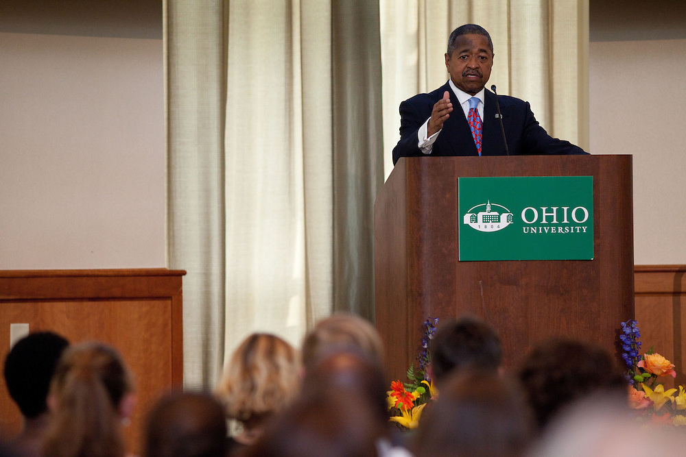 Ohio University's President McDavis spoke at the 2013 Faculty and Staff Convocation in Athens, Ohio on Wednesday, August 28, 2013. Photo by Chris Franz