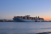 Images of Ultra-Large Containership 'Mathilde Maersk' arriving at the Port of Hamburg