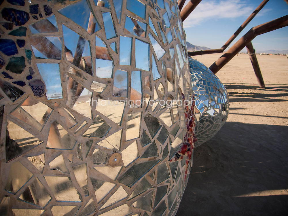 Abstract art sculpture with a mosaic of mirrors, Burning Man, 2009.