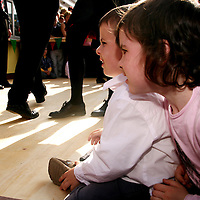 Eoin Killeen and Emer Kelly watch the set dancing as part of the Leon XIII festival in Quilty over the weekend<br />