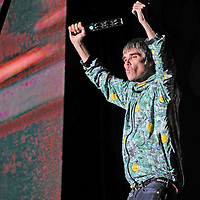 WESTON PARK, UK:.Ian Brown of The Stone Roses on stage at the V Festival on Sunday 19th August 2012..PHOTOGRAPH BY TERRY KANE / BARCROFT MEDIA LTD..UK Office, London..T: +44 845 370 2233.E: pictures@barcroftmedia.com.W: www.barcroftmedia.com..Australasian & Pacific Rim Office, Melbourne..E: info@barcroftpacific.com.T: +613 9510 3188 or +613 9510 0688.W: www.barcroftpacific.com..Indian Office, Delhi..T: +91 997 1133 889.W: www.barcroftindia.com