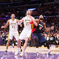 17 November 2013: Los Angeles Lakers center Pau Gasol (16) vies for the rebound with Detroit Pistons power forward Greg Monroe (10) during the Los Angeles Lakers 114-99 victory over the Detroit Pistons at the Staples Center, Los Angeles, California, USA.