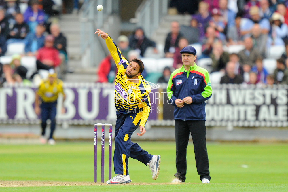 Hampshire's Shahid Afridi during the NatWest T20 Blast South Group match between Somerset County Cricket Club and Hampshire County Cricket Club at the Cooper Associates County Ground, Taunton, United Kingdom on 19 June 2016. Photo by Graham Hunt.