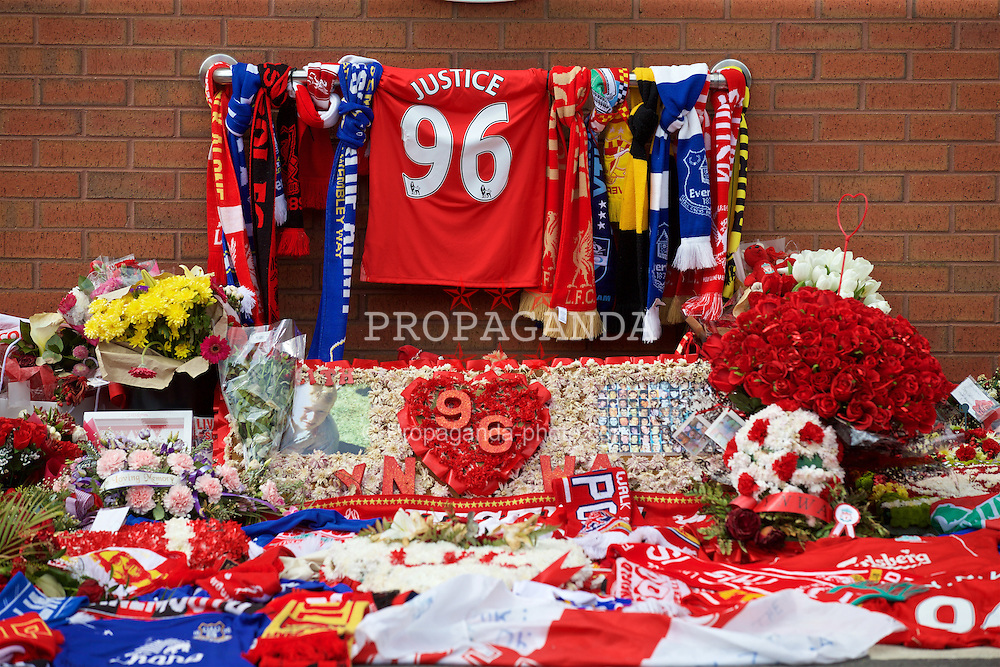 LIVERPOOL, ENGLAND - Thursday, May 5, 2016: Floral tributes left at Liverpool's temporary memorial to the 96 victims of the Hillsborough disaster, pictured ahead of the UEFA Europa League Semi-Final 2nd Leg match against Villarreal at Anfield. (Pic by David Rawcliffe/Propaganda)