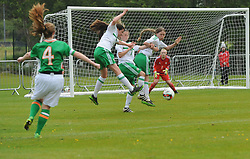 Northern Ireland defence attempt to block a free kick taken by Republic of Ireland captain Aoige Lynagh during the UEFA Women&rsquo;s U16 Tournament at United park Westport.<br /> Pic Conor McKeown