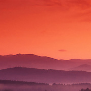 Mountain ridges at sunrise.; White Mountain National Forest, Plymouth, New Hampshire
