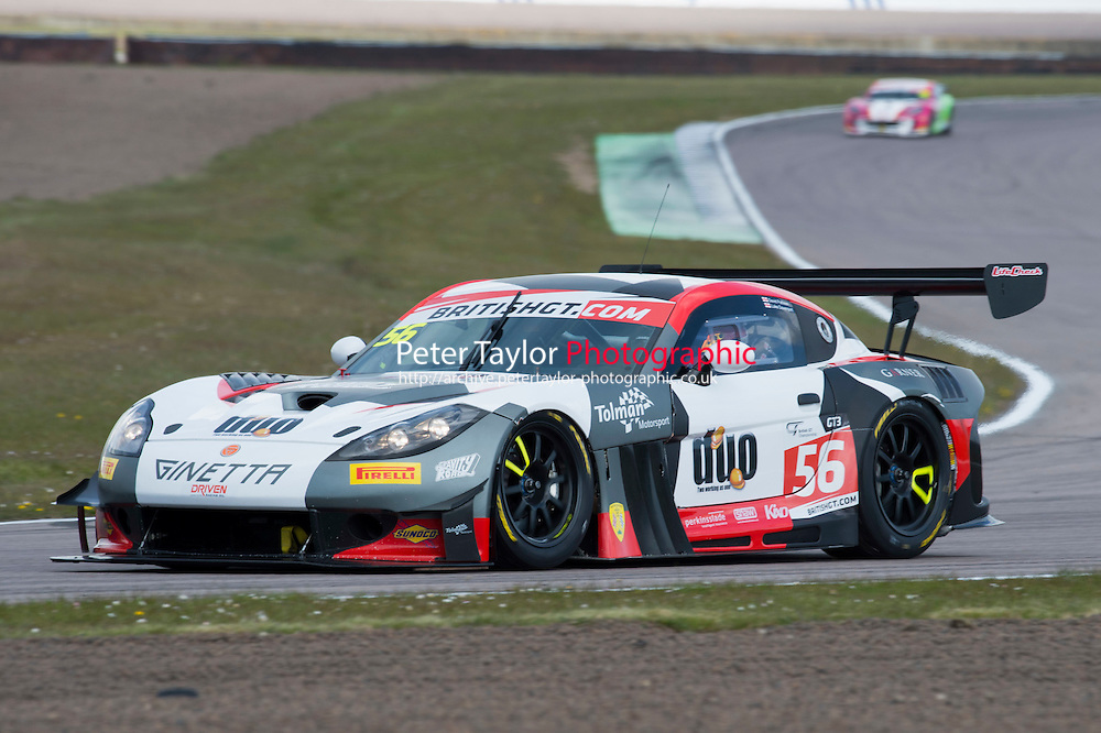 David Pattison (GBR) / Luke Davenport (GBR)  #56 Tolman Motorsport  Ginetta G55 GT3  Ginetta 4.3L V8 British GT Championship at Rockingham, Corby, Northamptonshire, United Kingdom. April 30 2016. World Copyright Peter Taylor/PSP.