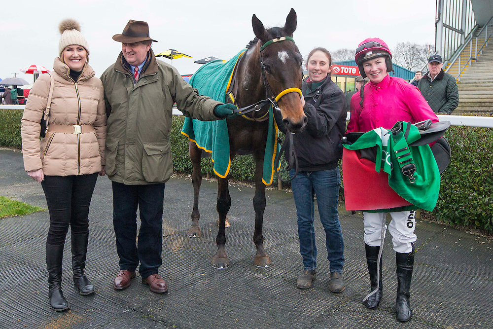 Navan Races, Saturday 27th February 2016.<br /> Noel and Dearbhla Meade pictured with Gettysburg Address and Jockey Nina Carberry aster winning the Athboy Pro/Am Flat<br /> Photo: David Mullen /www.cyberimages.net / 2016