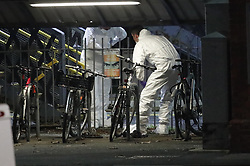 © Licensed to London News Pictures. 04/01/2019. Horsley, UK. Forensics officers at the scene where a man has been stabbed to death on a train at Horsley station in Surrey. A murder investigation has been launched after the man was attacked while on board the 12. 58pm train service travelling between Guildford and London Waterloo. . Photo credit: Peter Macdiarmid/LNP