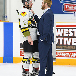 TRENTON, ON  - MAY 5,  2017: Canadian Junior Hockey League, Central Canadian Jr. &quot;A&quot; Championship. The Dudley Hewitt Cup Game 7 between Georgetown Raiders and the Powassan Voodoos.   Powassan Voodoos Head Coach talks to  Justin Schebel #2 post game.<br /> (Photo by Alex D'Addese / OJHL Images)