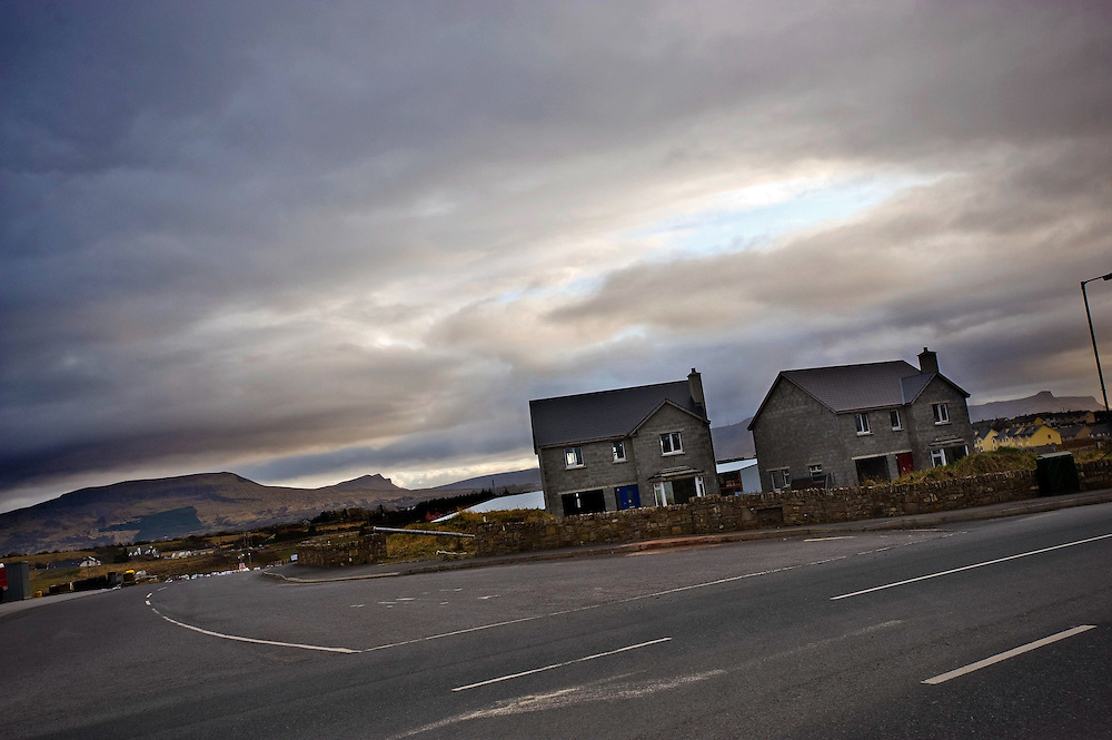 Two abandoned new build houses on the outskirts of Bundoran, Co Donegal, Ireland. It is estimated that there are 300,000 empty houses in Ireland