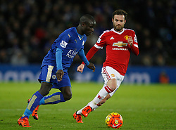 Ngolo Kante of Leicester City (L) and Juan Mata of Manchester United in action  - Mandatory byline: Jack Phillips/JMP - 07966386802 - 28/11/2015 - SPORT - FOOTBALL - Leicester - King Power Stadium - Leicester City v Manchester United - Barclays Premier League