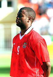 MINSK, BELARUS - Saturday, September 4, 1999: Wales' Nathan Blake before the UEFA Euro 2000 Qualifying Group One match against Belarus at the Dinamo Stadium. (Mandatory credit: David Rawcliffe/Propaganda)