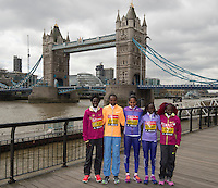 Virgin Money London Marathon 2015<br /> <br /> Photocall featuring the Favourites for the Womens Race<br /> <br /> Left to Right<br /> <br /> Edna Kiplagat<br /> Priscah Jeptoo<br /> Aselefech Mergia<br /> Mary Keitany<br /> Florence Kiplagat<br /> <br /> <br /> <br /> Photo: Bob Martin for Virgin Money London Marathon<br /> <br /> This photograph is supplied free to use by London Marathon/Virgin Money.