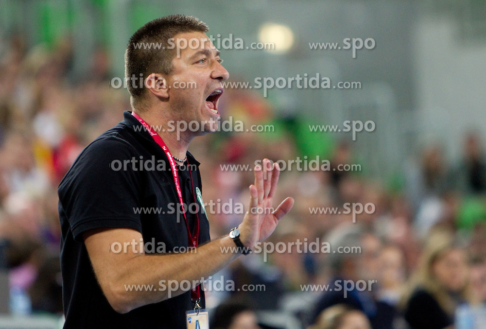 Coach of Gyori Csaba Konkoly during handball match between RK Krim Mercator (SLO) and Gyori Audi Eto KC (HUN) in 3rd Round of Women's Champions league, on October 23, 2010 at SRC Stozice, Ljubljana, Slovenia. Gyori defeated Krim 34 - 30. (Photo By Vid Ponikvar / Sportida.com)