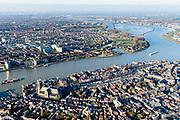 Nederland, Zuid-Holland, Dordrecht, 07-02-2018; Eiland van Dordrecht, samenstroom van Oude Maas (links), Beneden-Merwede (rechts) en de Noord. In het verschiet het eiland van de Sophiapolder. Historische binnenstad Dordrecht in de voorgrond, met Grote Kerk en Nieuwe Haven.<br /> Dordrecht Island with confluende of three rivers.<br /> <br /> luchtfoto (toeslag op standard tarieven);<br /> aerial photo (additional fee required);<br /> copyright foto/photo Siebe Swart