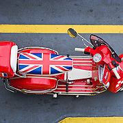 Vespa PX150 with flag of Great Britain seat cover
