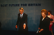British Prime Minister, John Major is joined on stage by his wife Norma and political predecessor, Margaret Thatcher during a Conservative party election rally on 23rd March 1992, in Brighton, England. Major went on to win the election weeks later and was the fourth consecutive victory for the Conservative Party although it was its last outright win until 2015 after Labour's 1997 win for Tony Blair.