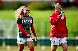 Ebony Salmon of Bristol City and Meaghan Sargeant of Bristol City prior to kick off - Mandatory by-line: Ryan Hiscott/JMP - 29/09/2019 - FOOTBALL - SGS College Stoke Gifford Stadium - Bristol, England - Bristol City Women v Chelsea Women - FA Women's Super League