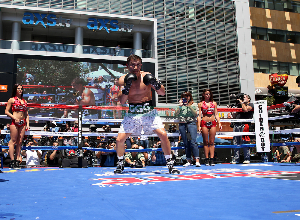 August 28, 2017 - Los Angeles, California, U.S - August 28, 2017 ---  Current WBC/WBA/IBF/IBO middleweight champion, GENNADY ''GGG'' GOLOVKIN works out during media day Monday at LA Live in downtown Los Angeles. Golovkin faces  Lineal middleweight champion CANELO ALVAREZ,  September 16 at the T-Mobile Arena in Las Vegas,Nevada. (Credit Image: © Chris Farina via ZUMA Wire)