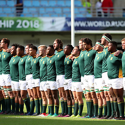 Players of South Africa in Line-up for the National Anthem during the U20 World Championship match between South Africa and Georgia on May 30, 2018 in Perpignan, France. (Photo by Manuel Blondeau/Icon Sport)