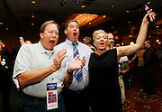 Democratic Party supporters, Dan Stewart, left, Dan John, center, and Tiffini John, right, react to the Utah state congressional election results at an election rally in Salt Lake City, Tuesday, November  2, 2010. (AP Photo/Colin E Braley)