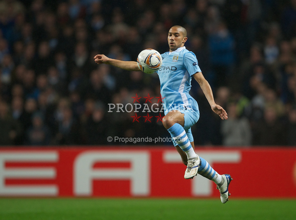 MANCHESTER, ENGLAND - Wednesday, February 22, 2012: Manchester City's Gael Clichy in action against FC Porto during the UEFA Europa League Round of 32 2nd Leg match at City of Manchester Stadium. (Pic by David Rawcliffe/Propaganda)