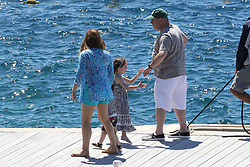 Please Hide The Child's Face Prior To The Publication - American producer Harvey Weinstein with his wife Georgina Chapman and their children Dashiell Weinstein and India Pearl Weinstein arriving at Hotel Eden Roc in Antibes, France on May 22, 2015 during the 68th Cannes Film Festival. Photo by ABACAPRESS.COM  | 501621_006 Antibes France