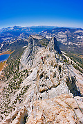 Climber on the classic Matthes Crest traverse, Yosemite National Park, California