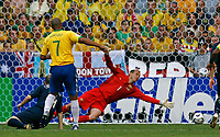 Photo: Glyn Thomas.<br />Brazil v Australia. Group F, FIFA World Cup 2006. 18/06/2006.<br /> Brazil's Adriano scores his side's first goal.