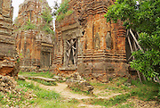 SIEM REAP, CAMBODIA - AUGUST 10, 2008: View to the ruins of the Lolei temple in Siem Reap, Cambodia.