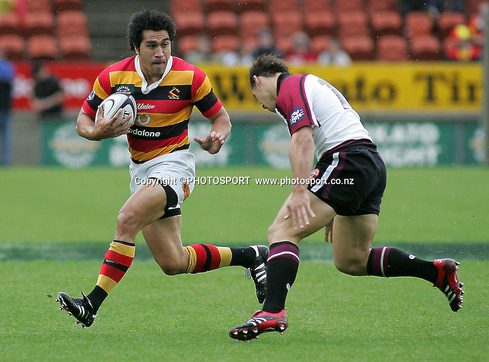 Waikato's Mils Muliaina   during the Air NZ Cup rugby match between Waikato and North Harbour played at Waikato Stadium, Hamilton, New Zealand on Sunday 1 October  2006.      Photo: Brett O'Callaghan/PHOTOSPORT