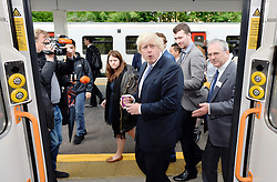 © Licensed to London News Pictures. 01/06/2015. <br /> LONDON, UK. Boris Johnson welcomes expansion of TfL rail services. The Mayor of London visits Enfield Town station to meet staff ahead of TfL taking on responsibility of additional stations and a number of rail services out of Liverpool Street station, London, Monday 01 June 2015. Photo credit : Hannah McKay/LNP