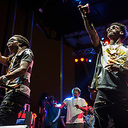 "WASHINGTON, DC - August 23rd, 2014 - Takeoff and Offset of Atlanta rap trio Migos perform at the 3rd annual Trillectro Music Festival at RFK Stadium in Washington, D.C. The group is known for their singles ""Versace"" and ""Hannah Montana."" (Photo by Kyle Gustafson / For The Washington Post)"