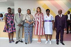 October 2, 2018 - Accra, Ghana, West Africa - First Lady Melania Trump poses for a photo with Rebecca Akufo-Addo, the First Lady of the Republic of Ghana, Dr. Emmanuel K. Srofenyoh, Hospital Medical Director and hospital administrators and officials Tuesday, Oct. 2, 2018, at the Greater Accra Regional Hospital in Accra, Ghana. (Credit Image: ? Andrea Hanks/White House via ZUMA Wire/ZUMAPRESS.com)