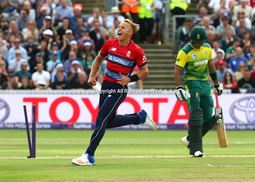 23rd June 2017, The Cooper Associates County Ground, Taunton, England; 2nd International Twenty20 Cricket Match, Tom Curran of England celebrates taking the wicket of Reeza Hendricks of South Africa