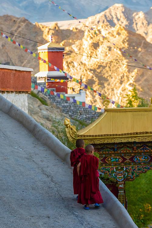 Novice monks, Thiksey Monastery, near Leh, Ladakh, Jammu and Kashmir State, India.