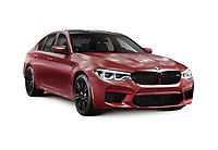 Sixth-generation BMW M5 with M xDrive, 2018 performance car, luxury sport sedan, 5-series in dark red, burgundy matte color. Isolated with a clipping path on white background.